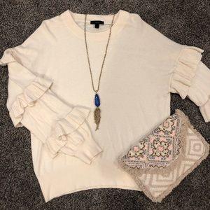 J. Crew Cream Ruffle Sleeve Sweater